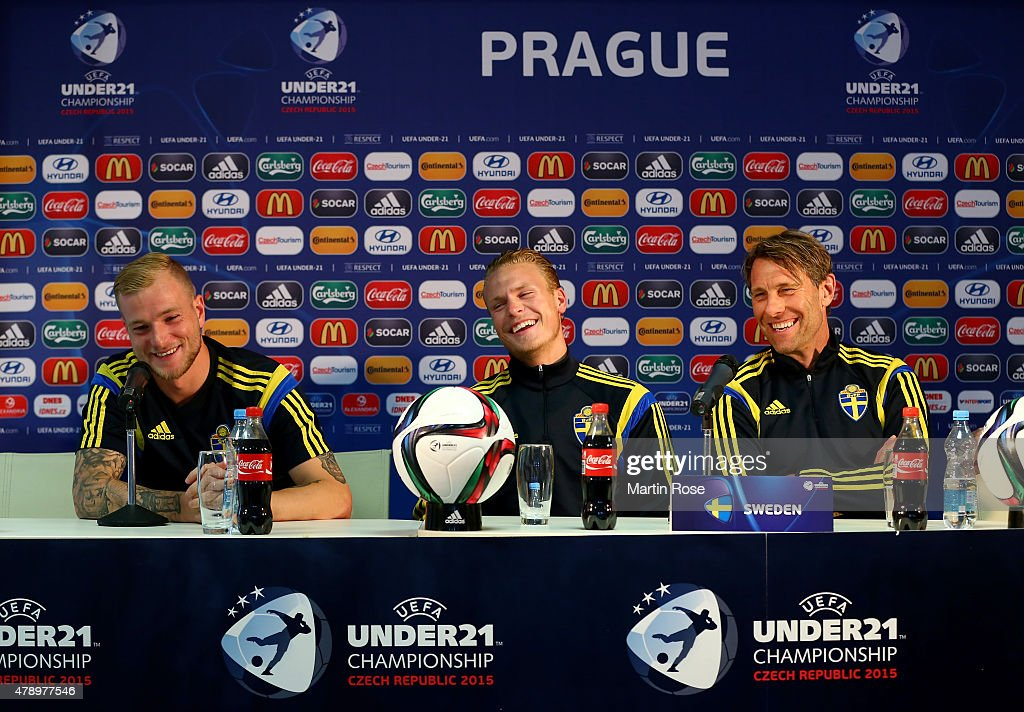 John Guidetti, Oscar Hiljemark and head coach Hakan Ericson of Sweden attend a UEFA press conference ahead of the UEFA European Under-21 final match against Portugal at Eden Stadium on June 29, 2015 in Prague, Czech Republic.