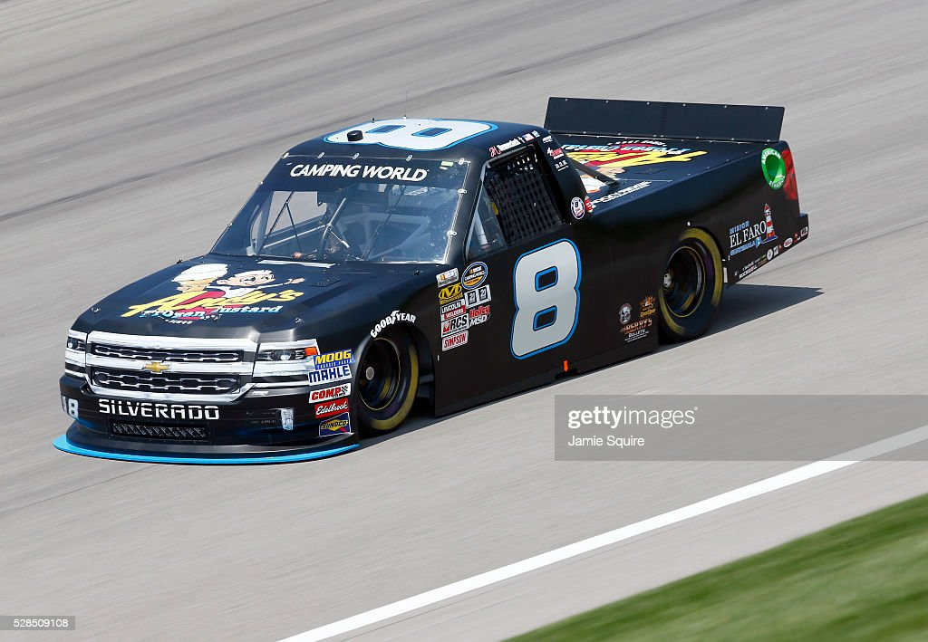 John H Nemechek, driver of the #8 Andy's Frozen Custard Chevrolet, practices for the NASCAR Camping World Truck Series 16th Annual Toyota Tundra 250 on May 05, 2016 in Kansas City, Kansas.