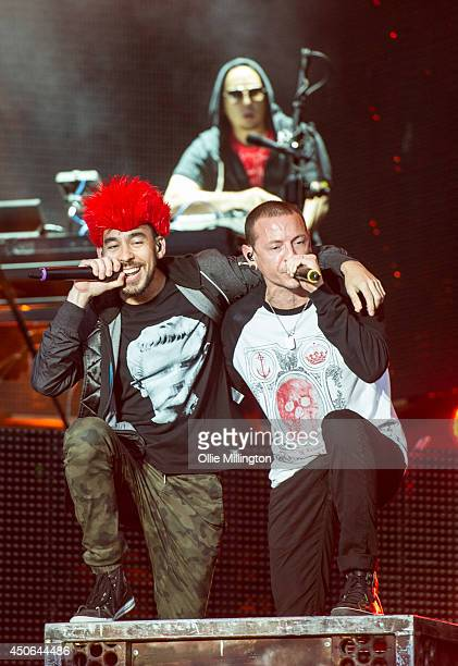 John Hahn Chester Bennington and Mike Shinoda of Linkin Park perform on Day 2 of the Download Festival at Donington Park on June 14 2014 in Castle...