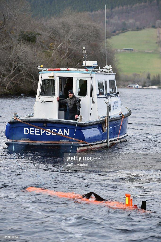 John Haig an engineer monitors a Munin robot operated by Norwegian company Kongsberg Maritime in Loch Ness on April 13 2016 in Drumnadrochit Scotland...