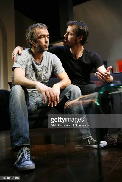 John Hannah and Paul Hilton appear on stage in 'Riflemind' by Andrew Upton during a photocall at the Trafalgar Studios in London's West End