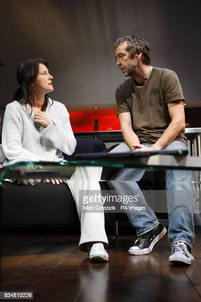 John Hannah and Susan Prior appear on stage in 'Riflemind' by Andrew Upton during a photocall at the Trafalgar Studios in London's West End