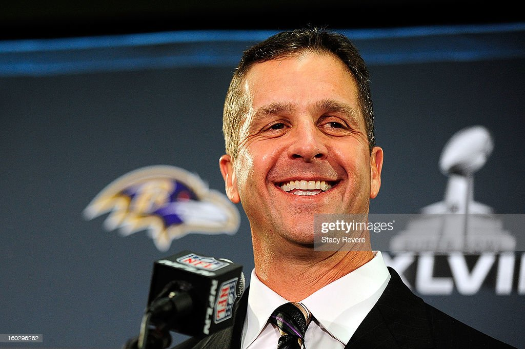 <a gi-track='captionPersonalityLinkClicked' href=/galleries/search?phrase=John+Harbaugh&family=editorial&specificpeople=763525 ng-click='$event.stopPropagation()'>John Harbaugh</a>, head coach of the Baltimore Ravens, speaks to the media during a media availability session for Super Bowl XLVII at the Hilton New Orleans Riverside on January 28, 2013 in New Orleans, Louisiana.
