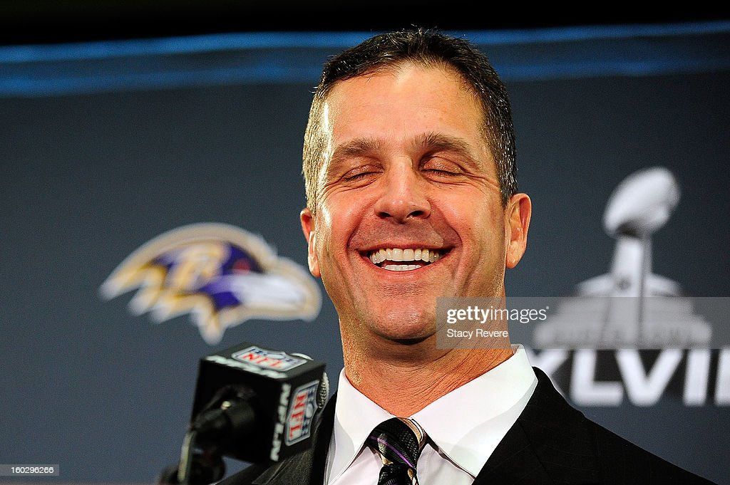 John Harbaugh, head coach of the Baltimore Ravens, speaks to the media during a media availability session for Super Bowl XLVII at the Hilton New Orleans Riverside on January 28, 2013 in New Orleans, Louisiana.