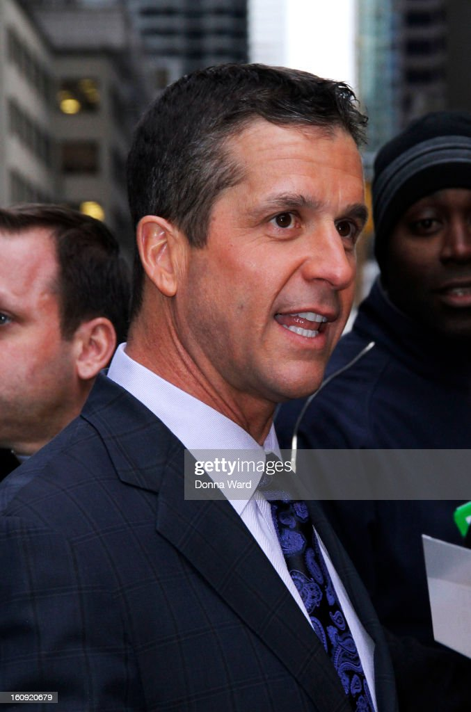 John Harbaugh leaves 'The Late Show with David Letterman' at Ed Sullivan Theater on February 7, 2013 in New York City.