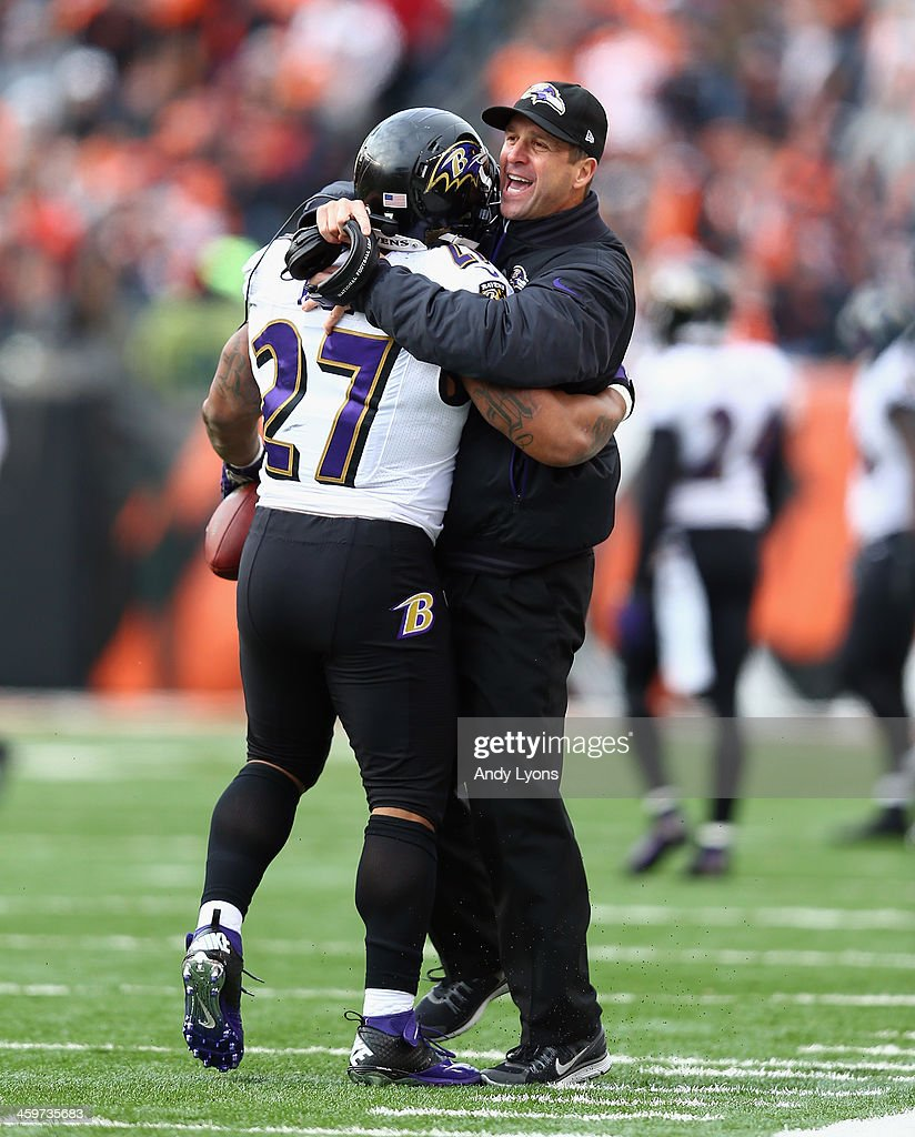 <a gi-track='captionPersonalityLinkClicked' href=/galleries/search?phrase=John+Harbaugh&family=editorial&specificpeople=763525 ng-click='$event.stopPropagation()'>John Harbaugh</a> of the Baltimore Ravens celebrates with <a gi-track='captionPersonalityLinkClicked' href=/galleries/search?phrase=Ray+Rice&family=editorial&specificpeople=3980395 ng-click='$event.stopPropagation()'>Ray Rice</a> #27 during the NFL game against the Cincinnati Bengals at Paul Brown Stadium on December 29, 2013 in Cincinnati, Ohio.