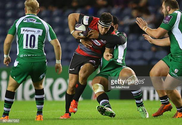 John Hardie of Edinburgh Rugby vies with Ofisa Treviranus of London Irish during the European Rugby Challenge Cup match between Edinburgh Rugby and...