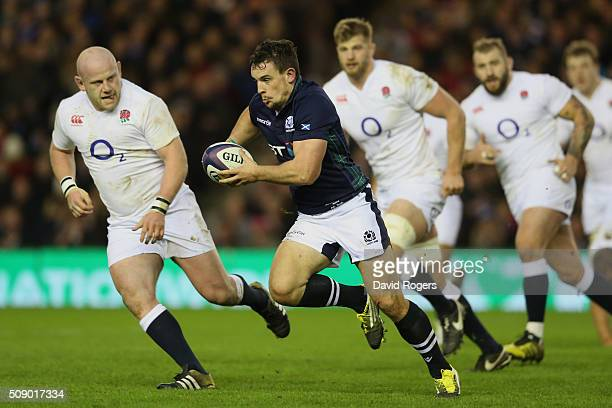 John Hardie of Scotland makes a break during the RBS Six Nations match between Scotland and England at Murrayfield Stadium on February 6 2016 in...
