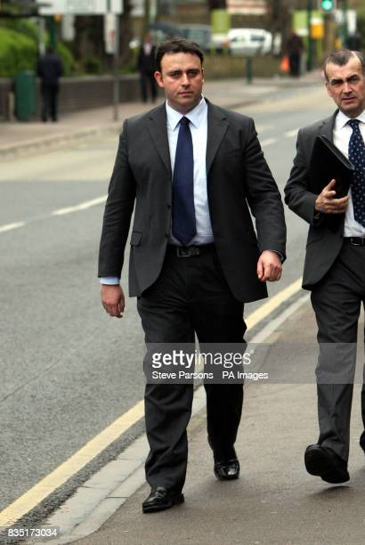 PC John Harrison arrives to give evidence in an employment tribunal in Watford Hertfordshire where it is alleged that PC Harrison subjected two...