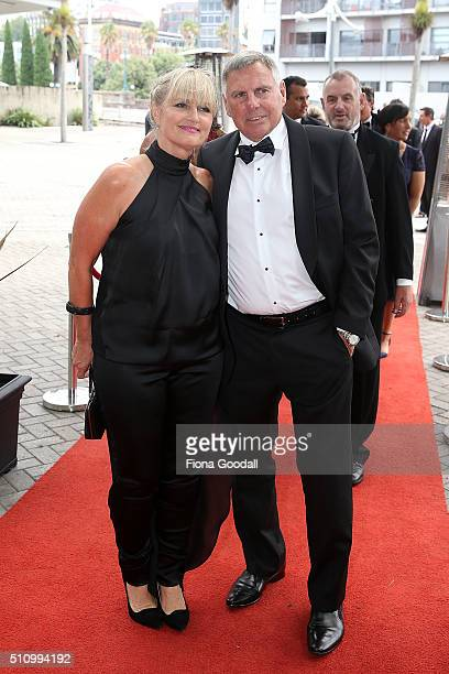 John Hart and partner arrive at the 2016 Halberg Awards at Vector Arena on February 18 2016 in Auckland New Zealand
