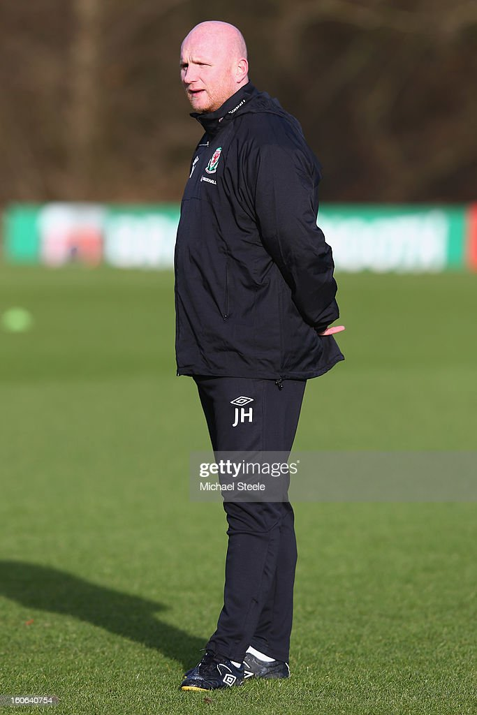 John Hartson, assistant coach of Wales during the Wales training session at Hensol Castle Park on February 4, 2013 in Cardiff, Wales.