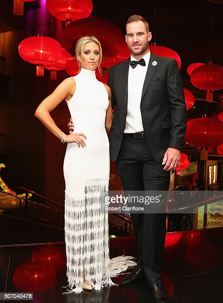 John Hastings and Briannan Hastings arrive at the 2016 Allan Border Medal ceremony at Crown Palladium on January 27 2016 in Melbourne Australia