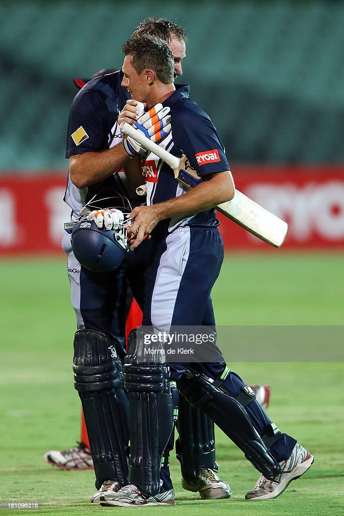 John Hastings (L) and Darren Pattinson (R) of the Bushrangers celebrates after the Ryobi One Cup Day match between the South Australian Redbacks and the Victorian Bushrangers at Adelaide Oval on February 9, 2013 in Adelaide, Australia.