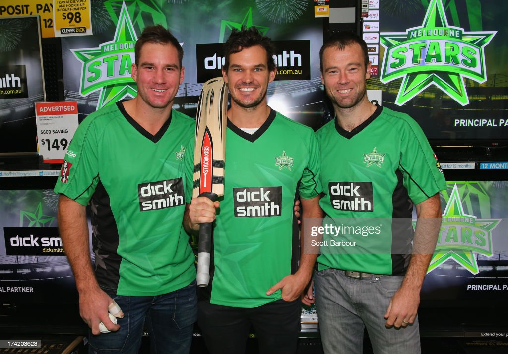 John Hastings, <a gi-track='captionPersonalityLinkClicked' href=/galleries/search?phrase=Clint+McKay&family=editorial&specificpeople=4083690 ng-click='$event.stopPropagation()'>Clint McKay</a> and Rob Quiney of the Stars pose during a Melbourne Stars Big Bash League media session at Victoria Gardens Shopping Centre on July 22, 2013 in Melbourne, Australia.