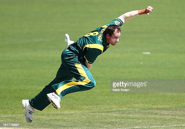 John Hastings of Australia A bowls during the international tour match between Australia 'A' and the England Lions at Blundstone Arena on February 16...