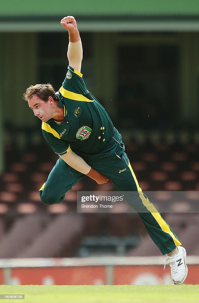 John Hastings of Australia 'A' bowls during the International Tour match between Australia 'A' and the England Lions at Sydney Cricket Ground on February 25, 2013 in Sydney, Australia.