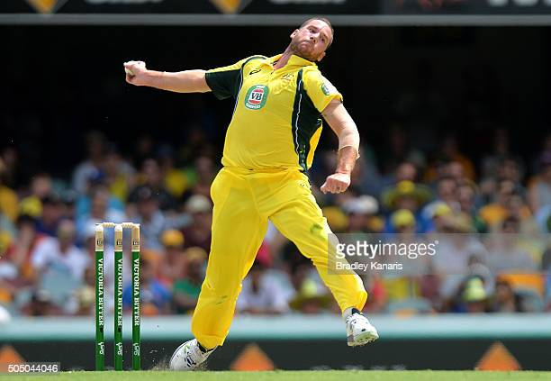 John Hastings of Australia bowls during game two of the Victoria Bitter One Day International Series between Australia and India at The Gabba on...