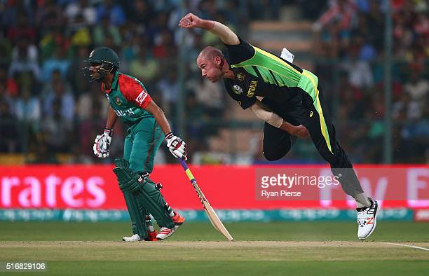 John Hastings of Australia bowls during the ICC World Twenty20 India 2016 Super 10s Group 2 match between Australia and Bangladesh at M Chinnaswamy...