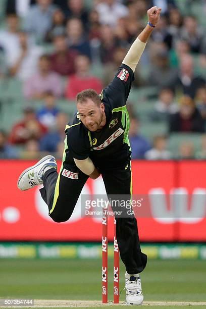 John Hastings of Australia bowls during the International Twenty20 match between Australia and India at Melbourne Cricket Ground on January 29 2016...