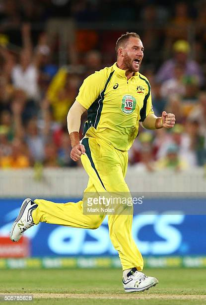 John Hastings of Australia celebrates a wicket during the Victoria Bitter One Day International match between Australia and India at Manuka Oval on...
