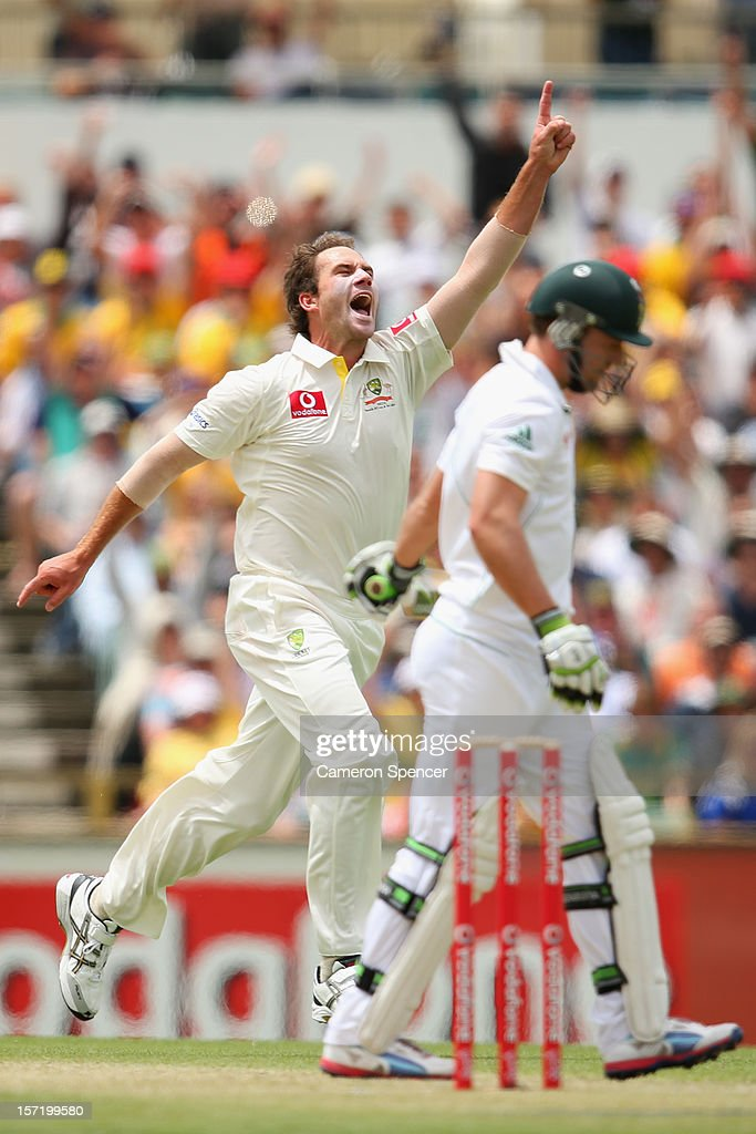 John Hastings of Australia celebrates dismissing AB de Villiers of South Africa during day one of the Third Test Match between Australia and South Africa at WACA on November 30, 2012 in Perth, Australia.