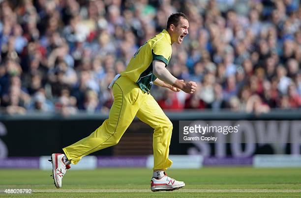 John Hastings of Australia celebrates dismissing Alex Hales of England during the 5th Royal London OneDay International match between England and...