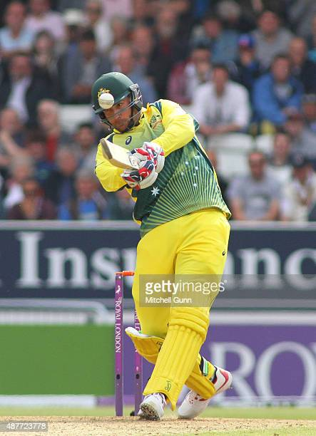 John Hastings of Australia hits the ball for six runs during the 4th Royal London OneDay International match between England and Australia at...