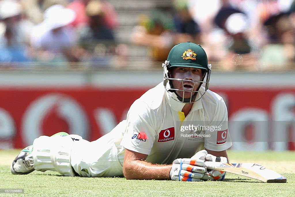 John Hastings of Australia slides over the crease to avoid a runout during day two of the Third Test Match between Australia and South Africa at the WACA on December 1, 2012 in Perth, Australia.