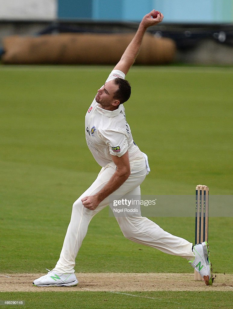 John Hastings of Durham bowls during The LV County Championship match between Durham and Middlesex at The Riverside on June 2 2014 in ChesterleStreet...