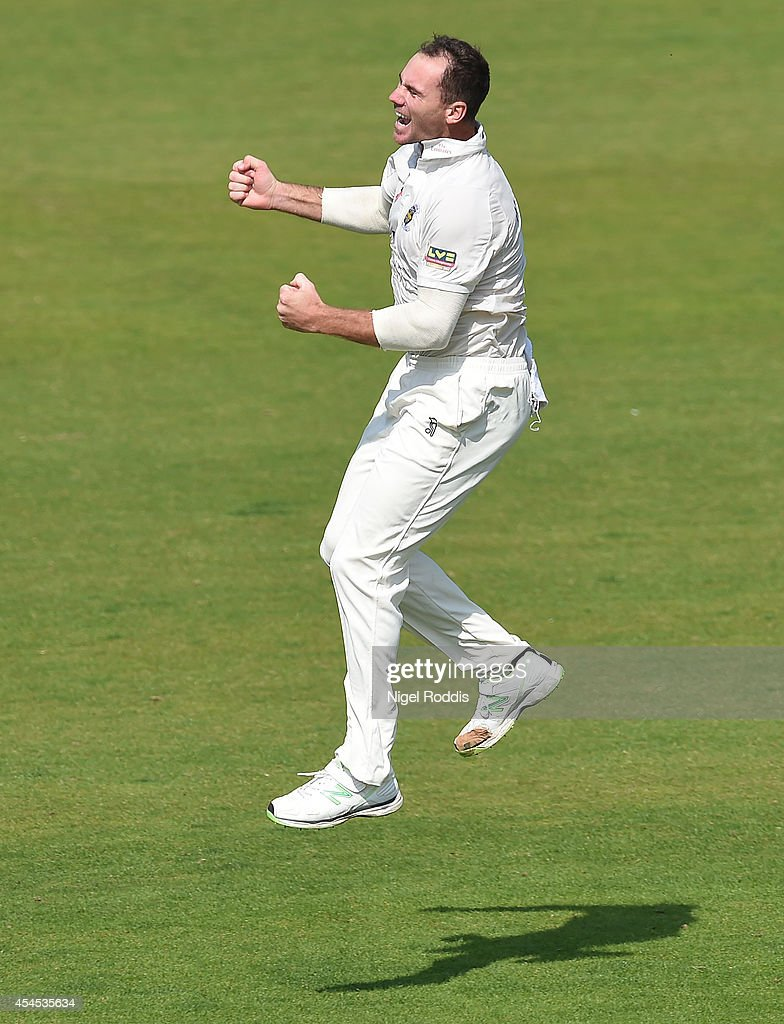 John Hastings of Durham celebrates taking the wicket of Chris Read of Nottinghamshire during the Championship match between Durham and...