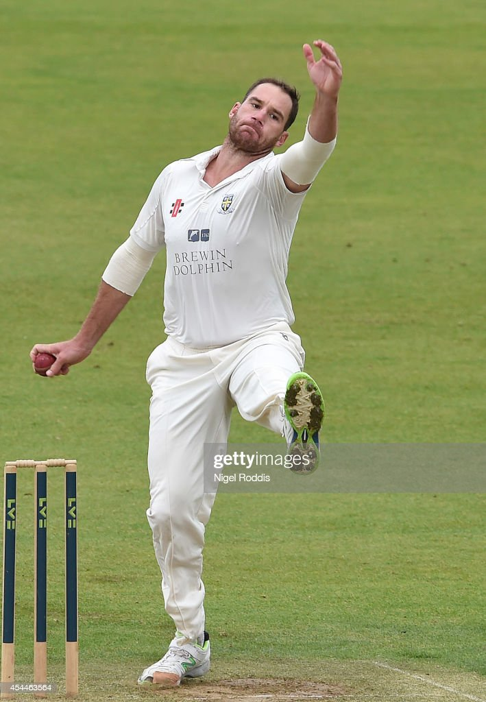 John Hastings of Durham in action during the LV County Championship match between Durham and Nottinghamshire at The Riverside on September 1 2014 in...