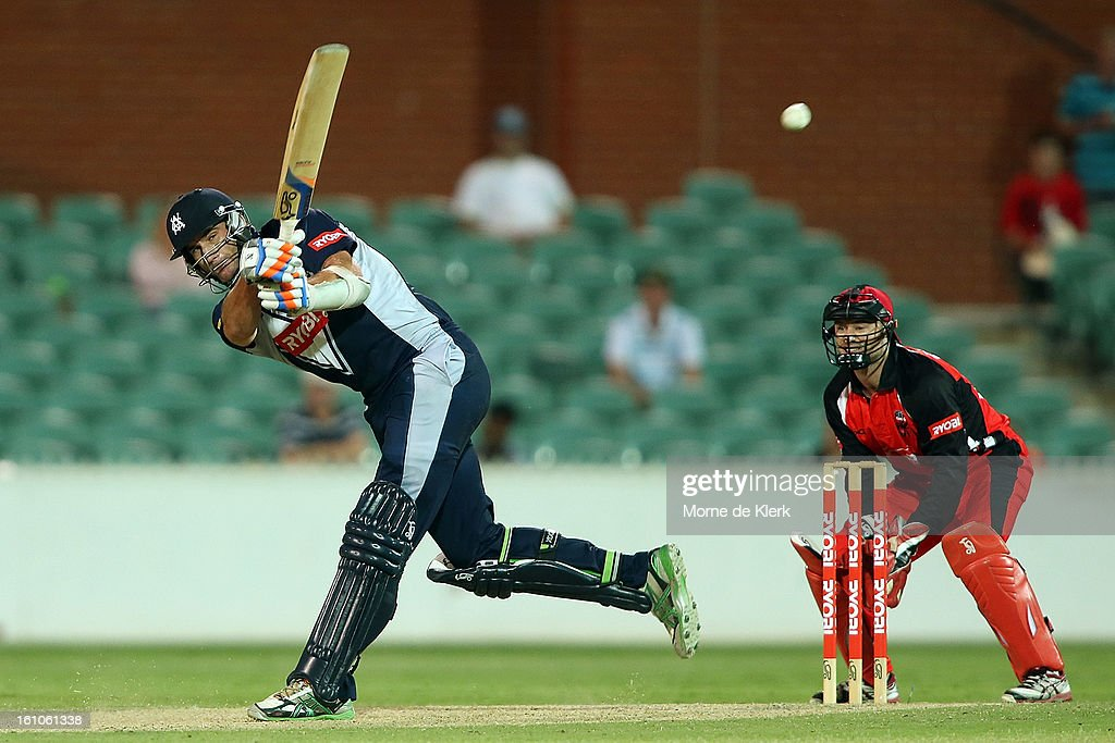 John Hastings of the Bushrangers bats during the Ryobi One Cup Day match between the South Australian Redbacks and the Victorian Bushrangers at Adelaide Oval on February 9, 2013 in Adelaide, Australia.