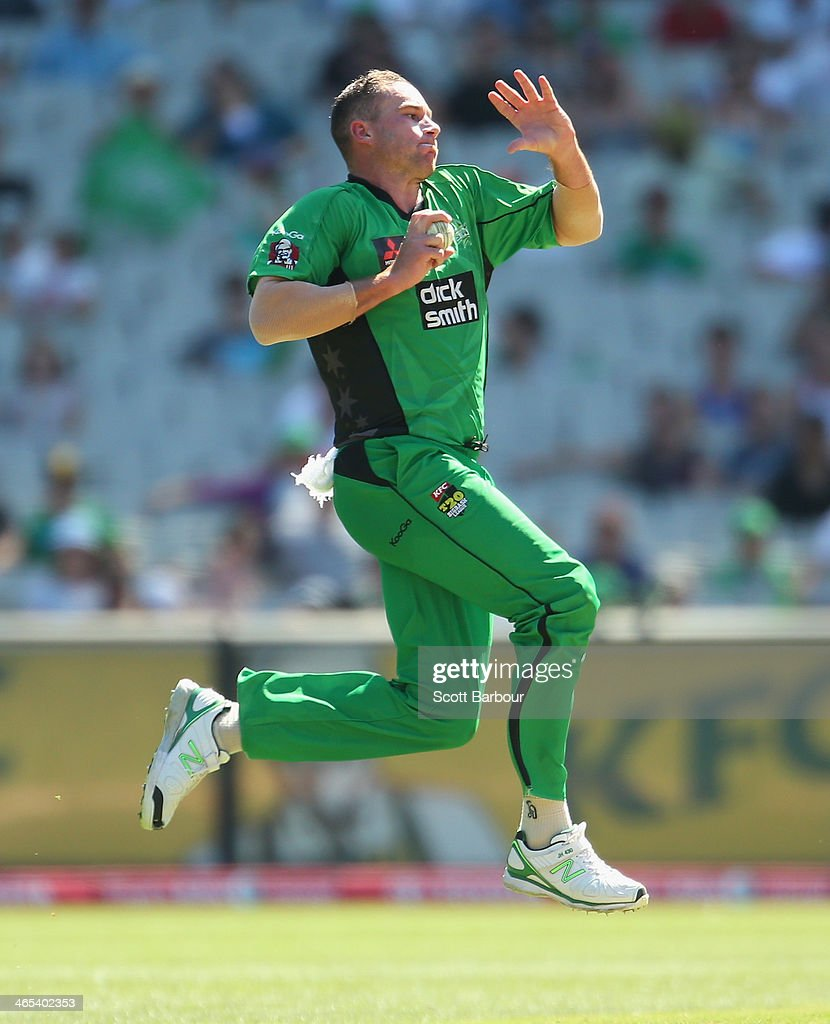 John Hastings of the Stars bowls during the Big Bash League match between the Melbourne Stars and the Perth Scorchers at Melbourne Cricket Ground on January 27, 2014 in Melbourne, Australia.