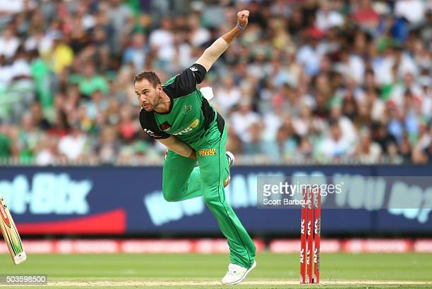 John Hastings of the Stars bowls during the Big Bash League match between the Melbourne Stars and the Hobart Hurricanes at the Melbourne Cricket...