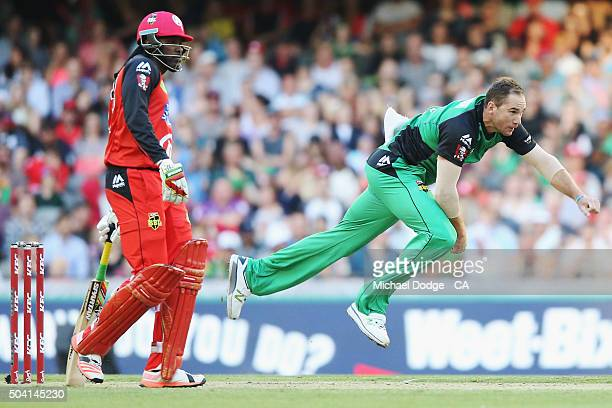 John Hastings of the Stars bowls during the Big Bash League match between the Melbourne Renegades and the Melbourne Stars at Etihad Stadium on...