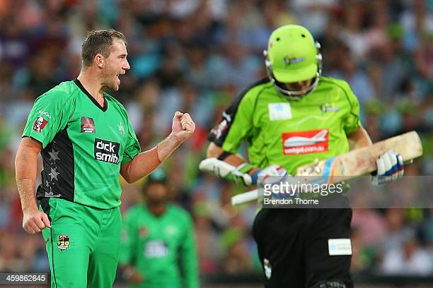 John Hastings of the Stars celebrates after claiming the wicket of Daniel Hughes of the Thunder during the Big Bash League match between Sydney...