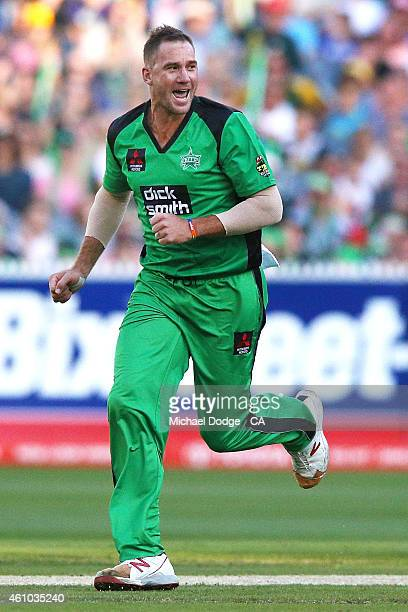 John Hastings of the Stars celebrates his wicket of Riki Wessels of the Sixers during the Big Bash League match between the Melbourne Stars and the...
