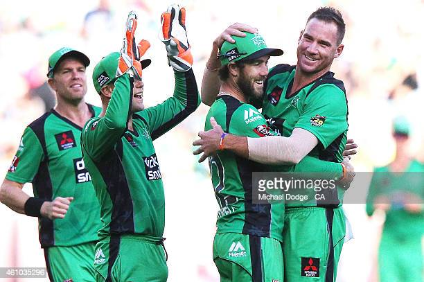 John Hastings of the Stars celebrates his wicket of Riki Wessels of the Sixers with Glenn Maxwell during the Big Bash League match between the...