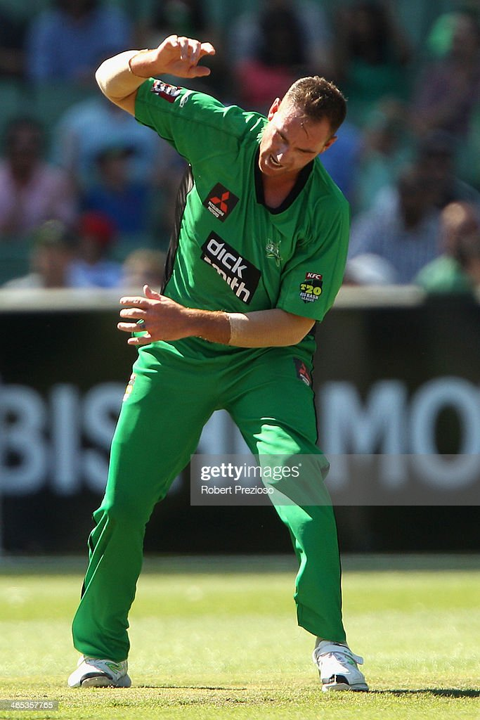 John Hastings of the Stars celebrates taking the wicket of Ashton Turner of the Scorchers during the Big Bash League match between the Melbourne Stars and the Perth Scorchers at Melbourne Cricket Ground on January 27, 2014 in Melbourne, Australia.
