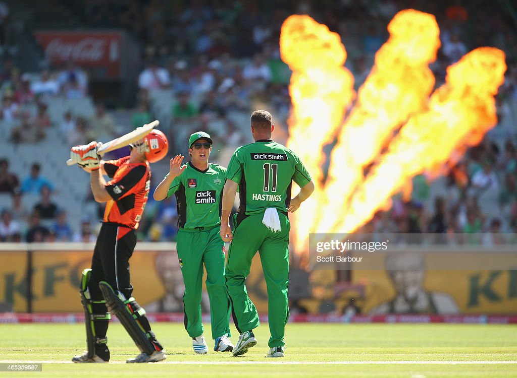 John Hastings of the Stars congratulates Daniel Worrall after he took a catch off his bowling to dismiss Adam Voges of the Scorchers during the Big Bash League match between the Melbourne Stars and the Perth Scorchers at Melbourne Cricket Ground on January 27, 2014 in Melbourne, Australia.