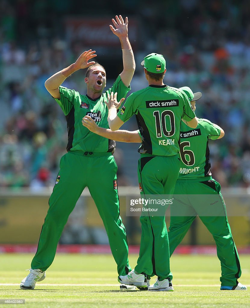 John Hastings of the Stars congratulates Luke Wright after he took a catch off his bowling to dismiss Mitchell Marsh of the Scorchers during the Big Bash League match between the Melbourne Stars and the Perth Scorchers at Melbourne Cricket Ground on January 27, 2014 in Melbourne, Australia.