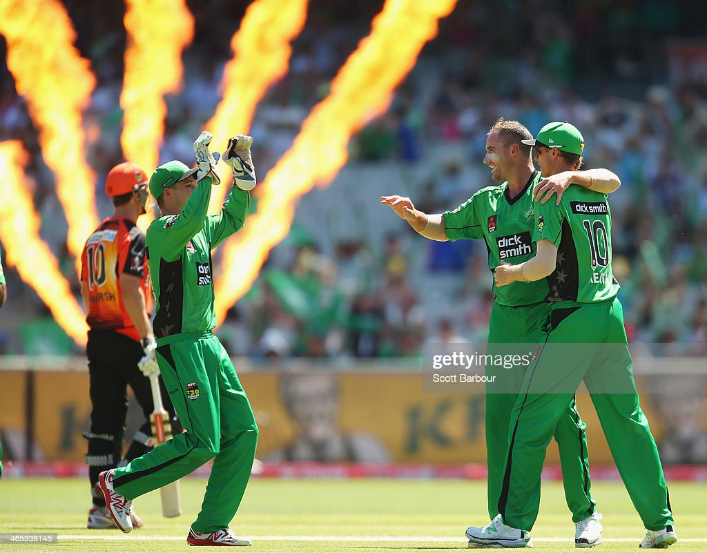 John Hastings of the Stars is congratulated by his teammates after dismissing Mitchell Marsh of the Scorchers during the Big Bash League match between the Melbourne Stars and the Perth Scorchers at Melbourne Cricket Ground on January 27, 2014 in Melbourne, Australia.
