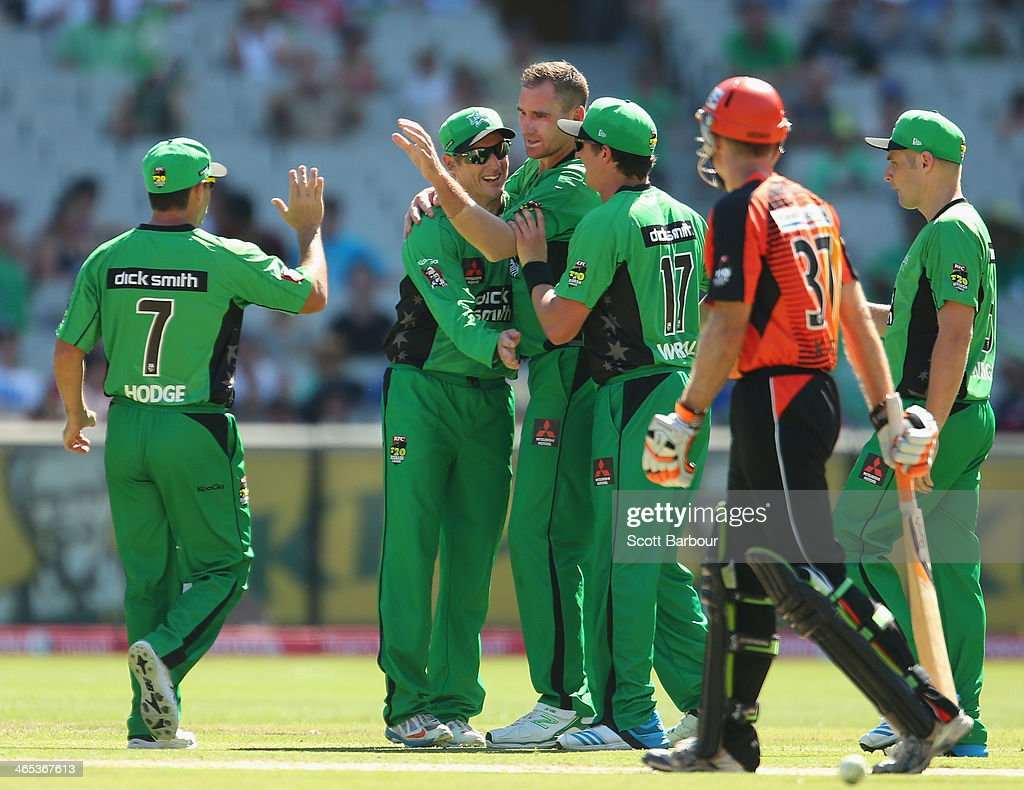 John Hastings of the Stars is congratulated by his teammates after dismissing Adam Voges of the Scorchers during the Big Bash League match between the Melbourne Stars and the Perth Scorchers at Melbourne Cricket Ground on January 27, 2014 in Melbourne, Australia.