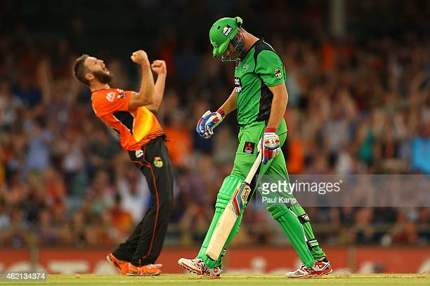 John Hastings of the Stars walks back to the rooms as Andrew Tye of the Scorchers celebrates his his dismissal during the Big Bash League Semi Final...