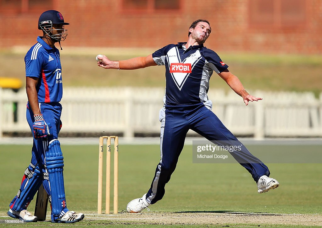 John Hastings of Victoria bowls during the International tour match between the Victorian 2nd XI and the England Lions at Junction Oval on February 7, 2013 in Melbourne, Australia.