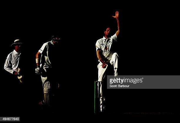 John Hastings of Victoria bowls with the pink cricket ball during day one of the Sheffield Shield match between Victoria and Queensland at Melbourne...