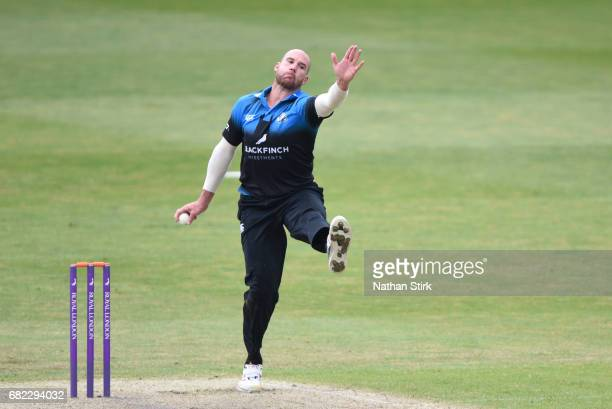 John Hastings of Worcestershire bowls during the Royal London OneDay Cup match between Worcestershire Rapids and Warwickshire at New Road on May 12...