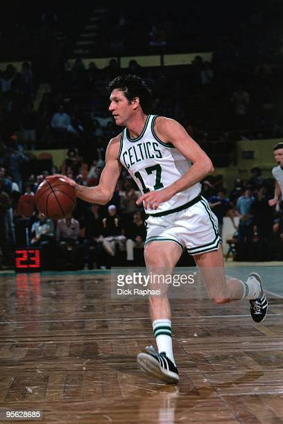 John Havlicek of the Boston Celtics drives the ball up court during a game played in 1976 at the Boston Garden in Boston Massachusetts NOTE TO USER...