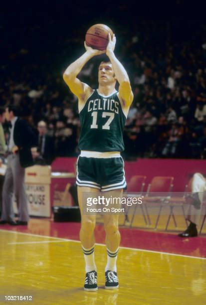 John Havlicek of the Boston Celtics shooting jumpshots in pregame warmups circa 1976 before an NBA basketball game against the Washington Bullets at...