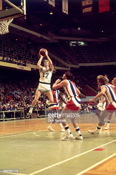 John Havlicek of the Boston Celtics shoots against the Baltimore Bullets circa 1971 at the Boston Garden in Boston Massachusetts NOTE TO USER User...